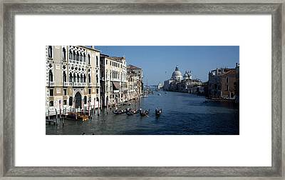 Gondolas In A Canal, Grand Canal Framed Print by Panoramic Images