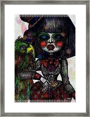 Gothic Girl And Bird Framed Print by Akiko Okabe
