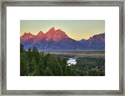 Framed Print featuring the photograph Grand Tetons Morning At The Snake River Overview - 2 by Alan Vance Ley