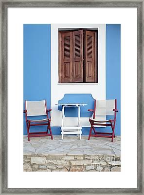 Greek Window Framed Print by Neil Overy