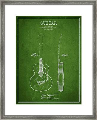 Gretsch Guitar Patent Drawing From 1941 - Green Framed Print by Aged Pixel