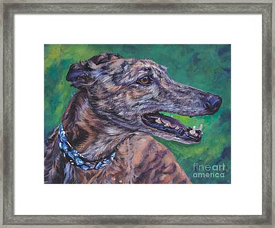 Greyhound Framed Print by Lee Ann Shepard