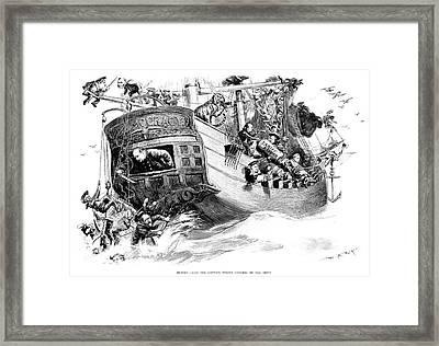 Grover Cleveland Cartoon Framed Print by Granger