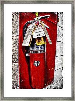 Grungy Fire Extinguisher Framed Print