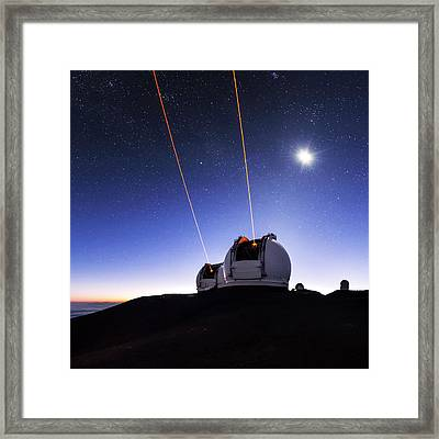 Guide Lasers Over Mauna Kea Observatories Framed Print