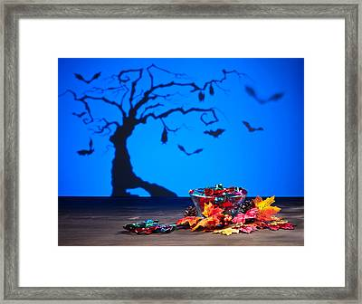 Halloween Tree Bats And Sweets Framed Print by Ulrich Schade
