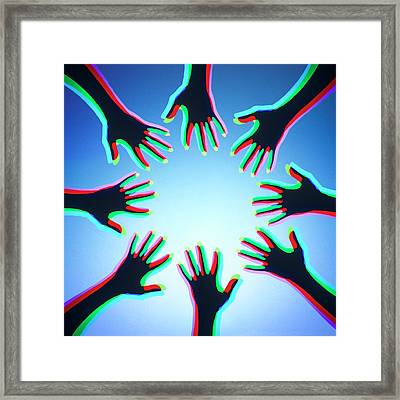 Hands With Colour Mixing Framed Print
