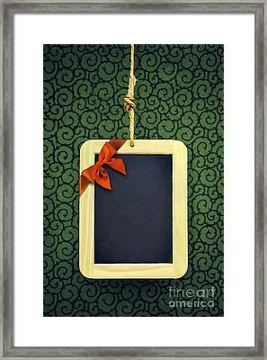 Hanged Xmas Slate - Bow  Framed Print