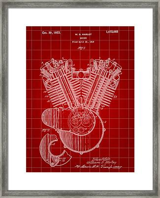 Harley Davidson Engine Patent 1919 - Red Framed Print by Stephen Younts