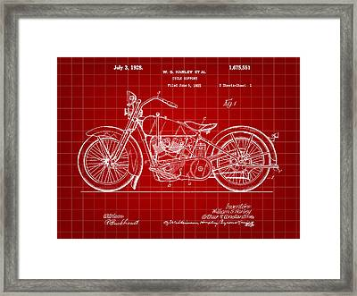 Harley Davidson Motorcycle Patent 1925 - Red Framed Print by Stephen Younts