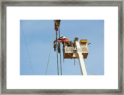 High Voltage Power Line Construction Framed Print by Jim West