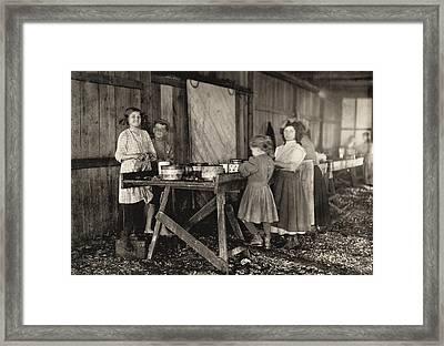 Hine Child Labor, 1911 Framed Print