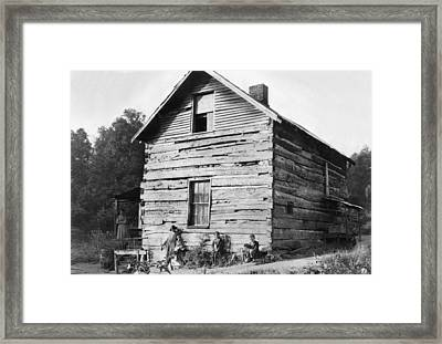 Hine Log Cabin, 1921 Framed Print by Granger