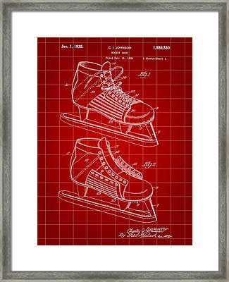Hockey Shoe Patent 1934 - Red Framed Print by Stephen Younts