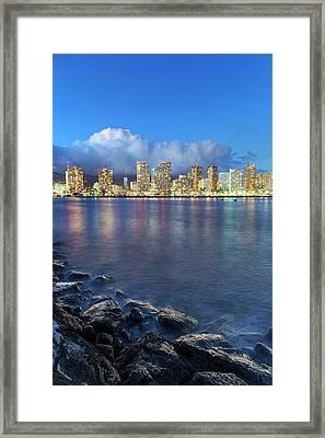 Honolulu Skyline Framed Print by Babak Tafreshi
