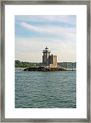 Framed Print featuring the photograph Huntington Lighthouse by Karen Silvestri