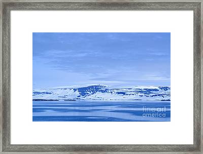 Iceland Winter Landscape Of Beautiful Mountains Covered In Snow  Framed Print