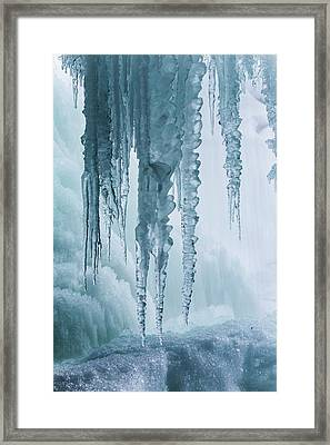 Icicles On Freezing Waterfall Framed Print
