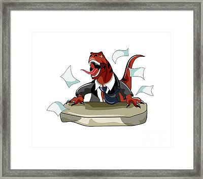 Illustration Of A Tyrannosaurus Rex Framed Print by Stocktrek Images