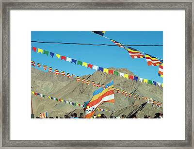India, Ladakh, Leh, Prayer Flags Framed Print by Anthony Asael