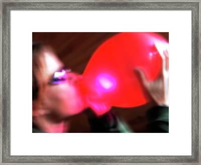 Inhaling Nitrous Oxide From A Balloon Framed Print
