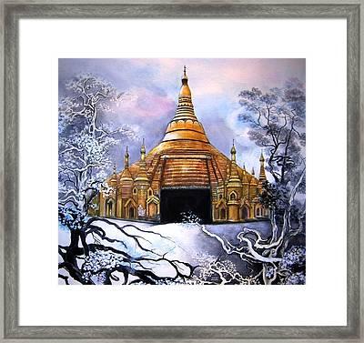 Interpretive Illustration Of Shwedagon Pagoda Framed Print by Melodye Whitaker