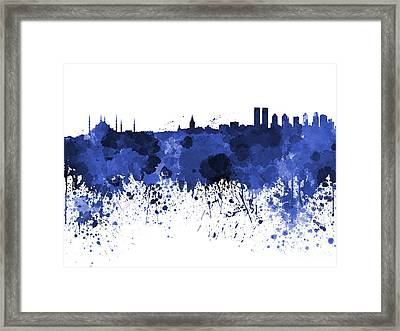 Istanbul Skyline In Watercolor On White Background Framed Print by Pablo Romero