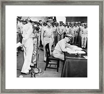 Japanese Surrender Ceremony Framed Print by Underwood Archives