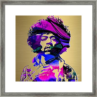 Jimi Hendrix Gold Series Framed Print