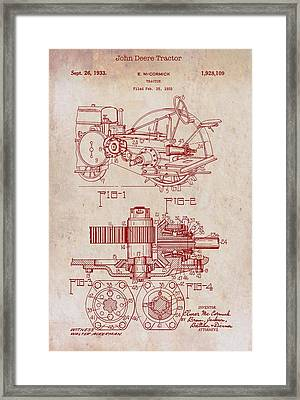 John Deere Tractor Patent 1933 Framed Print by Mountain Dreams