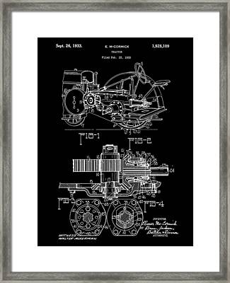 John Deere Tractor Patent 1932 - Black Framed Print by Stephen Younts