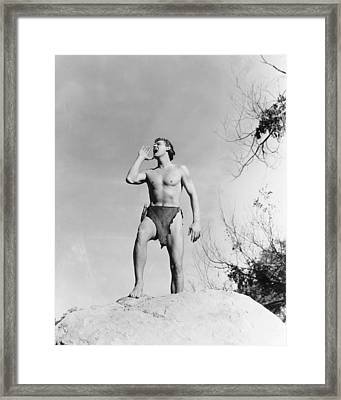 Johnny Weissmuller In Tarzan And His Mate  Framed Print