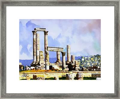 Jordan/amman/citadel Framed Print by Fayez Alshrouf