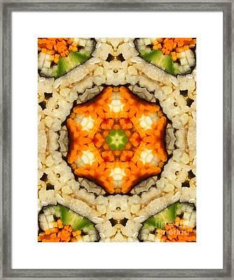Kaleidoscope Vegetable Sushi Framed Print by Amy Cicconi