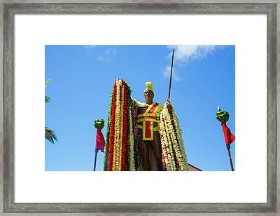 King Kamehameha Statue, Flower Leis Framed Print