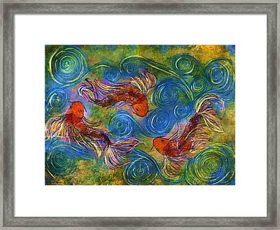 Koi Mating Dance Framed Print by Janet Immordino