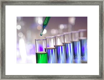 Laboratory Test Tubes In Science Research Lab Framed Print