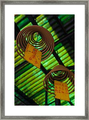 Large Incense Coils Hanging In Pak Sing Framed Print by Panoramic Images