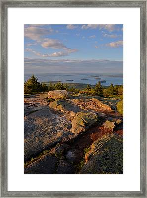 Late Day Light - Cadillac Mountain Framed Print by Stephen  Vecchiotti