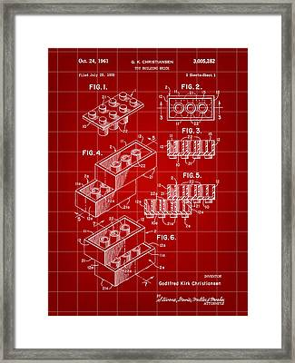 Lego Patent 1958 - Red Framed Print