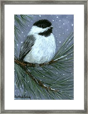 Let It Snow Chickadee Framed Print