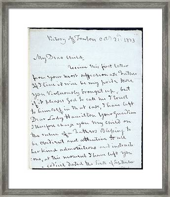 Letter Of Lord Nelson Framed Print