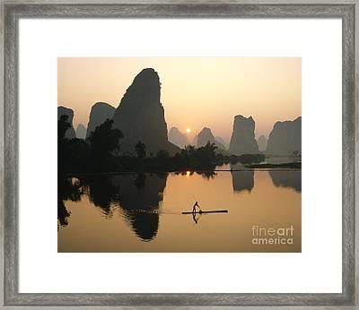 Li River At Dawn Framed Print by King Wu
