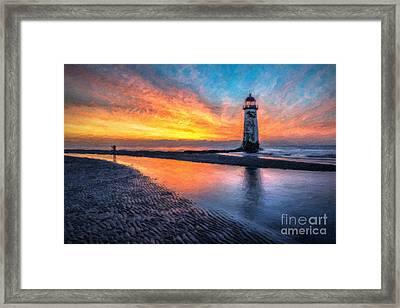 Lighthouse Sunset Framed Print by Adrian Evans