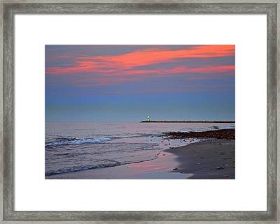 Lighthouse Sunset Framed Print by Frozen in Time Fine Art Photography