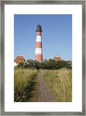 Lighthouse Westerhever And Stockenstieg Framed Print by Olaf Schulz