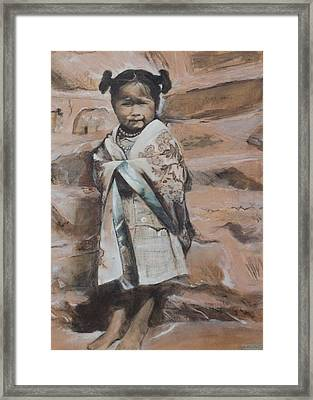 Little Hopi Girl Framed Print by Terri Ana Stokes