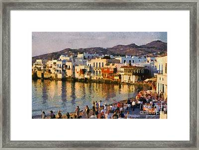 Little Venice In Mykonos Island Framed Print