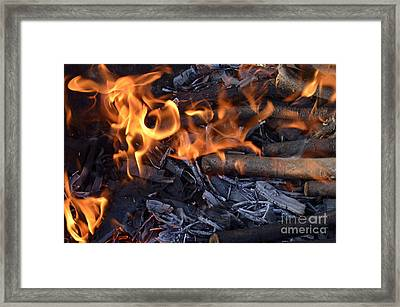Log Fire And Flames Framed Print