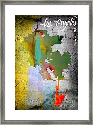 Los Angeles Map Watercolor Framed Print